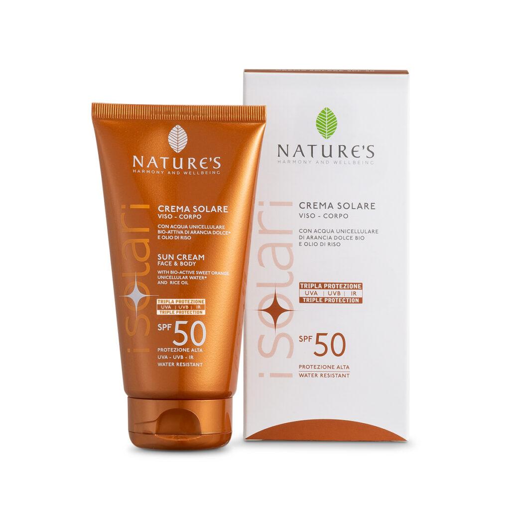 Crema solare viso-corpo Natures 50 in confezione color arancio