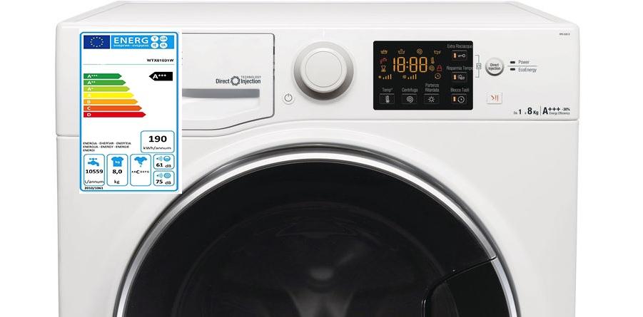 lavatrice con etichetta visibile della classe energetica aaa