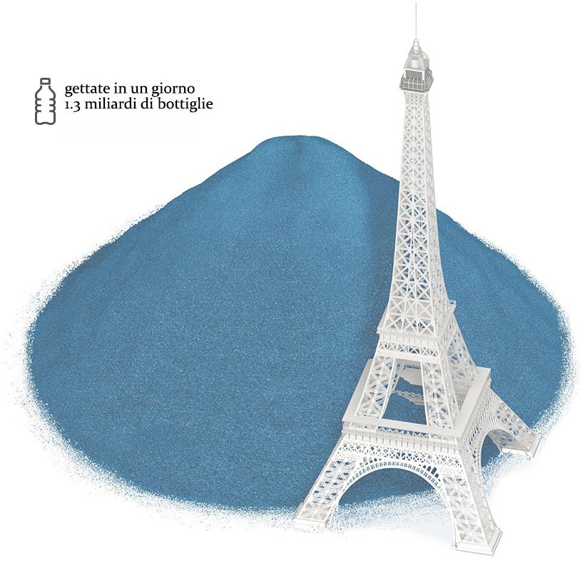 un disegno della torre Eiffel sovrastata da una montagna di plasica